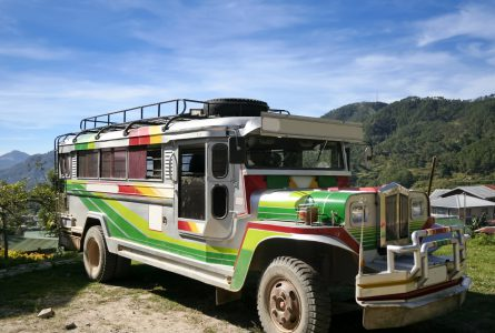 jeepney on mountain road near sagada northern luzon the philippines